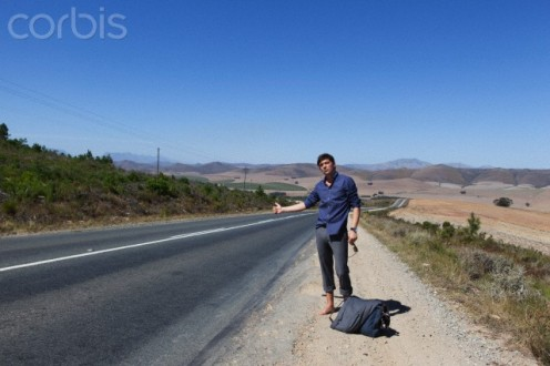 Hitchhiking alone is not a wise move. One could get robbed or beaten up.