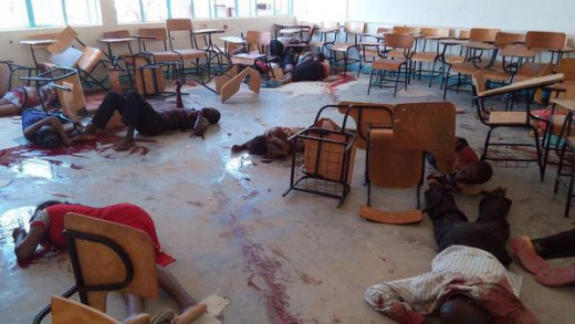 Bodies of Students Strewn in a Classroom