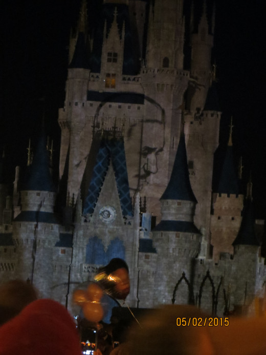 Wonders of Disney - a spectacular light show on Cinderella's Castle.