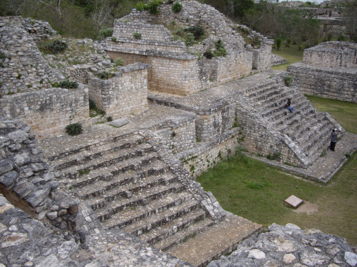 "Structure 17 or ""The Twins"" (Las Gamelas).  On top of each small pyramid there is an identical temple. Ek Balam, Yucatan"