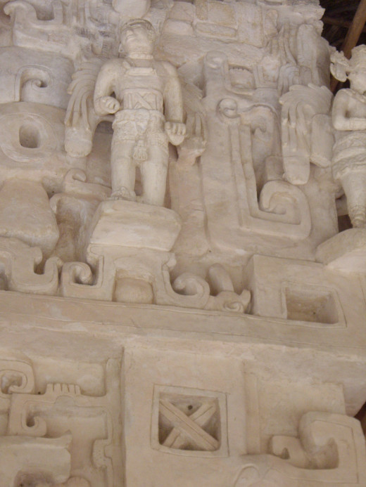 Carved figures decorate the Acropolis, Ek Balam, Yucatan