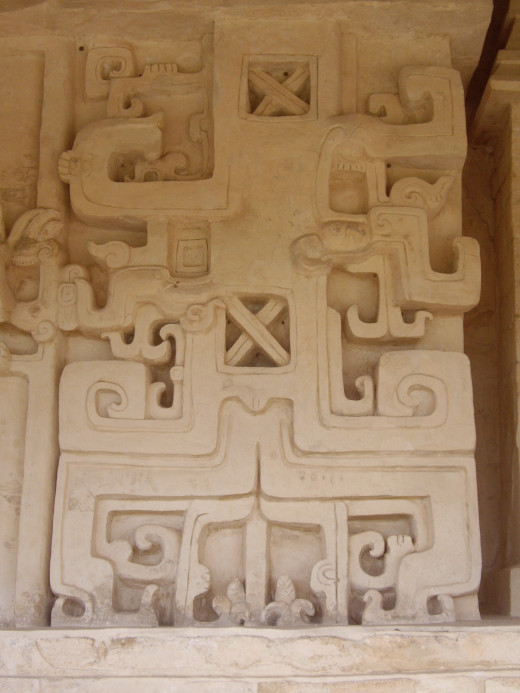 Intricate ornaments on the walls of the Acropolis, Ek Balam, Yucatan
