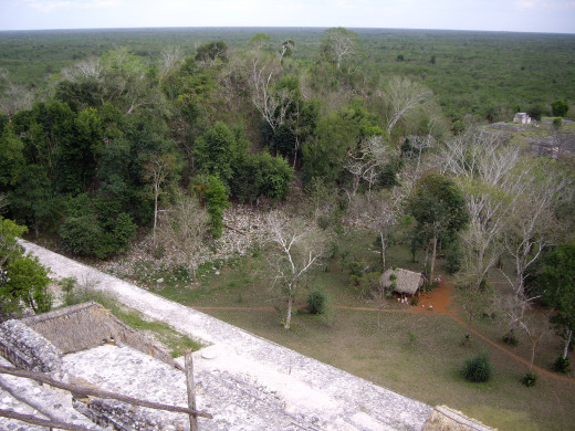 View from the top of Acropolis.  There is a pile of rubble on the left, in a few years it may be excavated to reveal another structure. Ek Balam, Yucatan