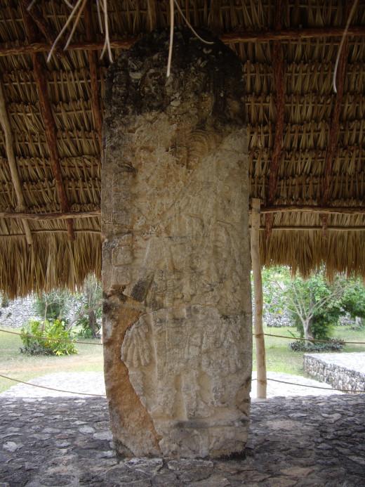 Stela in Ek Balam, Yucatan