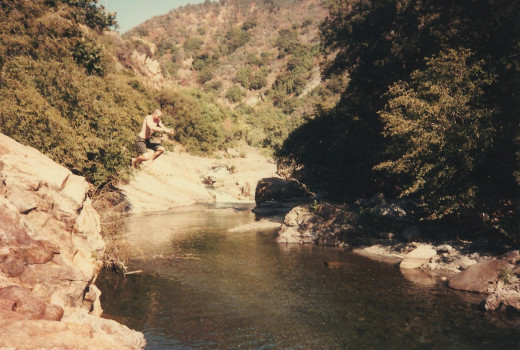Me jumping into a stream in Sequoia NP.