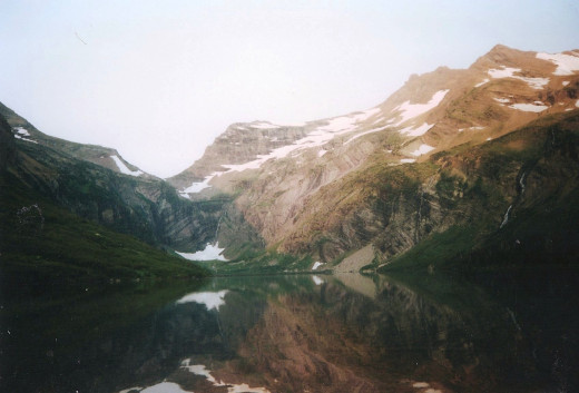 The view from our first back country camp site on Gunsight Lake in Glacier NP.