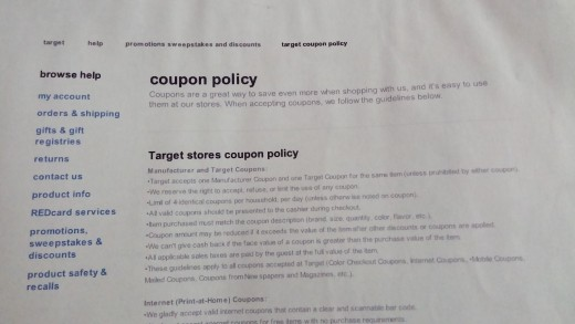 Target Coupon Policy Example