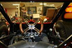 A photo from behind the wheel of a dragster in Don Garlits' Racing Museum in Ocala, Fla.