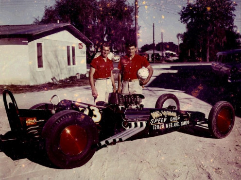 "Ed and Don Garlits with the original ""Swamp Rat."""