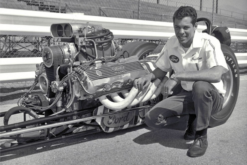 Don Prudhomme poses with his powerful dragster.
