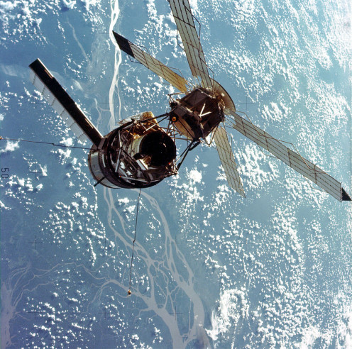 Skylab as it circles the Earth.