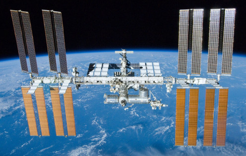 Completed International Space Station as it passes in low-Earth orbit.