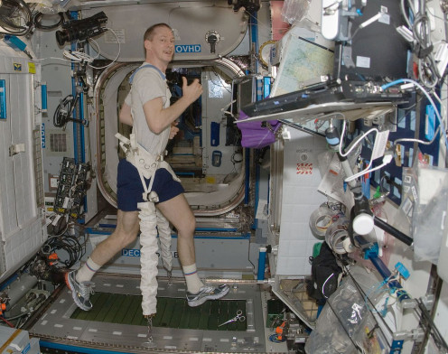 Working out on the International Space Station.