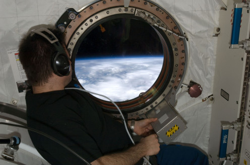 The Earth from a window of the International Space Station.
