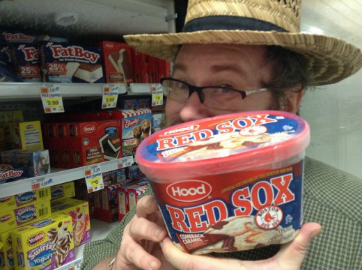 We love owa Red Sox and Fenway Pahk.  Why, Hood even has ice cream flaviz named fa the team.  Translation:  We love our Red Sox and Fenway Park.   Why, Hood even has ice cream flavors named for the team.
