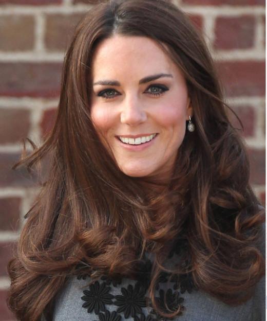 Kate has healthy beautiful long brown hair.