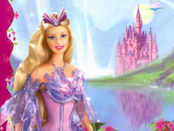 """Barbie,"" in her natural surroundings: In Fairy Land."