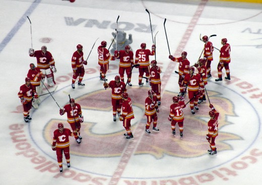 Calgary Flames salute after winning a game. Source: Wikimedia Commons