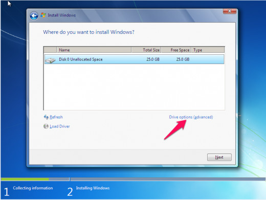 Unallocated space implies a hard drive that is not yet formatted