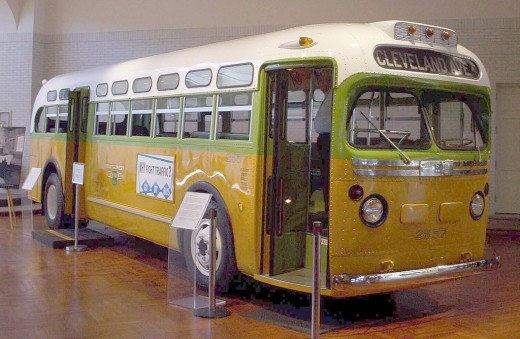 The National City Lines bus, No. 2857.  Rosa Parks was riding on this bus before her arrest for refusing to give up her seat to a white man. The bus is now a public exhibit at the Henry Ford Museum.