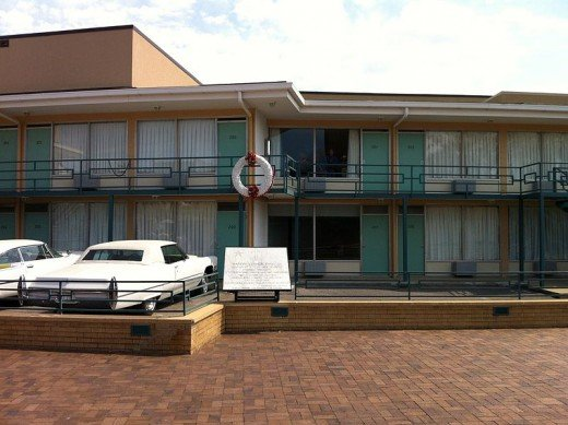 The site at the Lorraine Motel where Martin Luther King was assassinated.  The wreath shows the approximate spot.  The motel is now part of the National Civil Rights Museum in Memphis, TN.