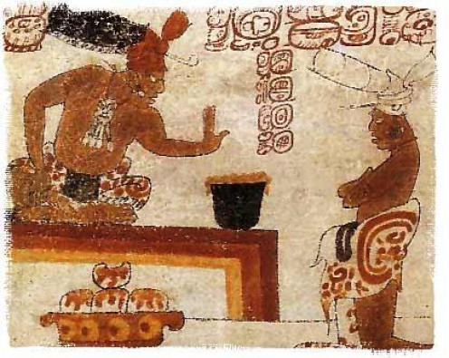A Maya lord forbids an individual from touching a container of chocolate.