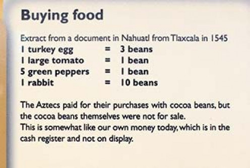 The Aztecs used cocoa beans as currency