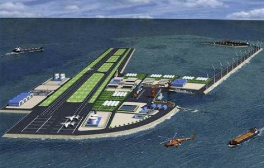 The planned airbase in the Spratly's.