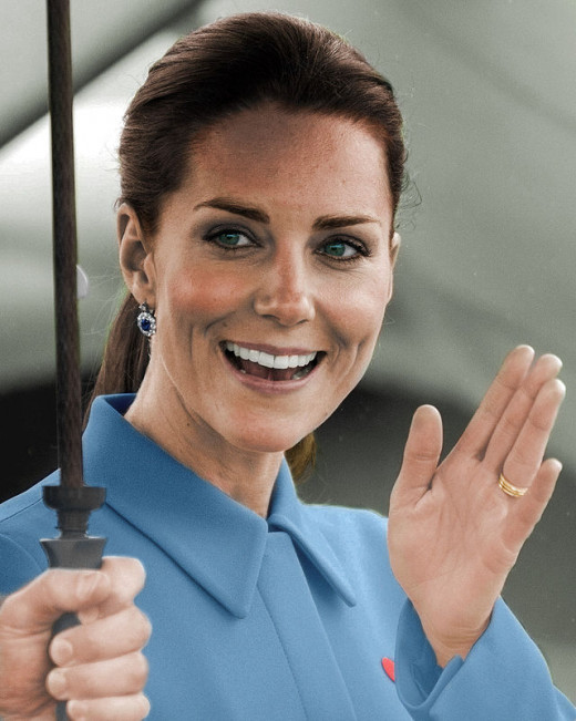 Kate's makeup is tasteful and fairly natural, the only obvious feature is the dark eyeliner that encircles the eyes.