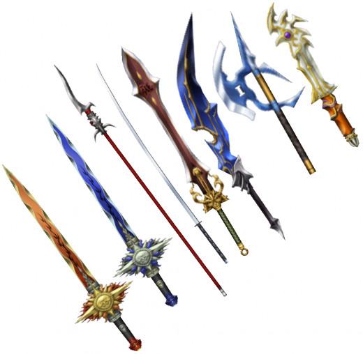 Various Final Fantasy weapons