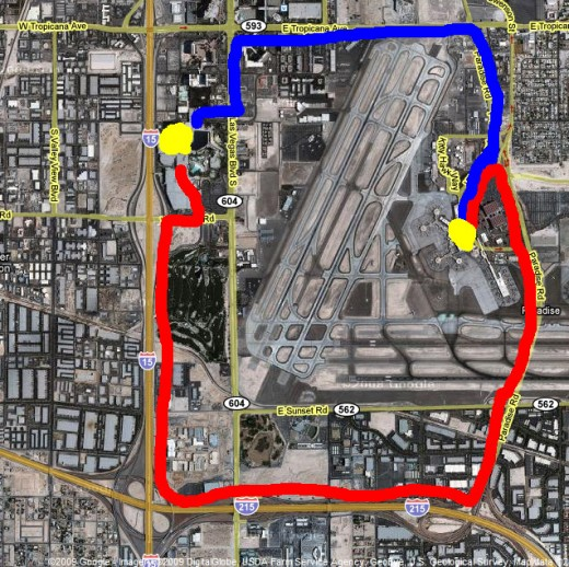 "This map shows two different routes from McCarran airport to the Luxor. The blue line shows the shortest route; the red line shows the longer ""through the tunnel long haul"" route. Believe the map, not what the cab driver says."