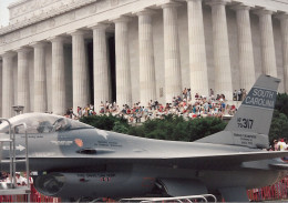 An F-16 Fighting Falcon, AF79-317, in front of the Lincoln Memorial, June 1991.