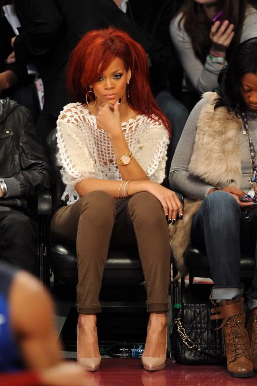 Pop star Rihanna wears luxury watches