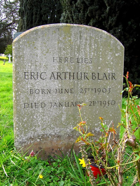 Blair's simple tombstone near the village of Sutton Courtenay, Oxfordshire, bears no mention of the famous pen name by which he was known to the world.