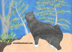 Creating A Drawing of Annie Cat Looking Over The Hillside