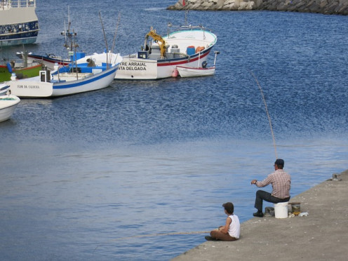 A child and his dad fishing by the lake?