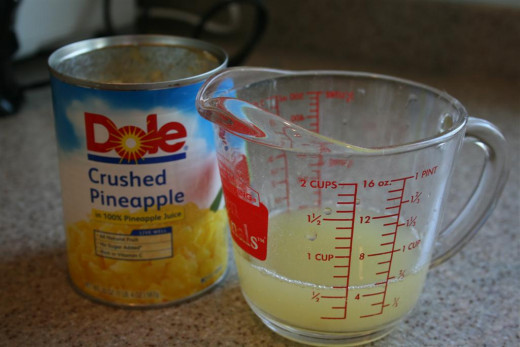 Take some pineapple juice in a measuring dish or otherwise if you're good with quantity.