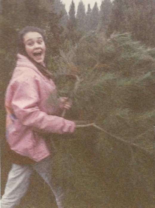Cutting our Christmas Tree.
