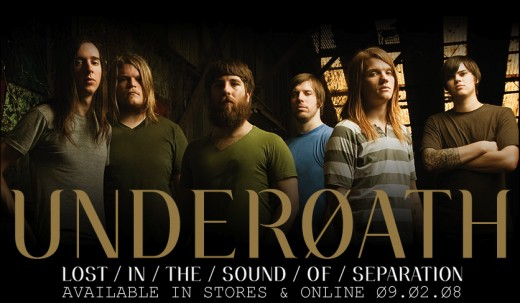 From left to right: Spencer Chamberlain (Vocals), Chris Dudley (Synth), Tim McTague (Lead guitar), Grant Brandell (bass), Aaron Gillespie (drums), and James Smith (guitar).
