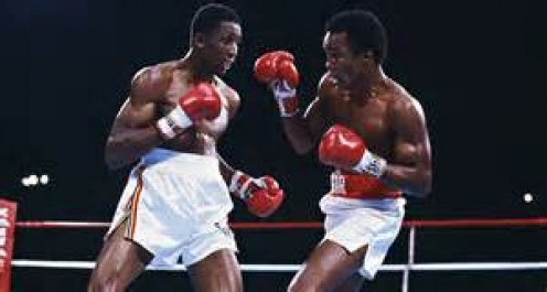 "Sugar Ray Leonard unified the welterweight championships by knocking out Tommy ""The Hitman"" Hearns."