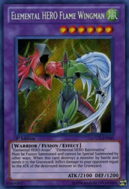 An example fusion monster, Elemental HERO Flame Wingman. Attack and defense scores are in the lower right; card effects and the monsters needed as materials are noted in the card text.