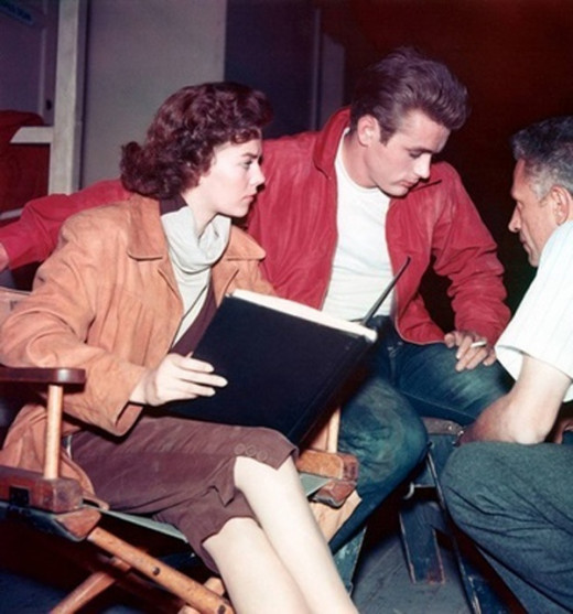 Natalie Wood, left, Dean and director Nicholas Ray.