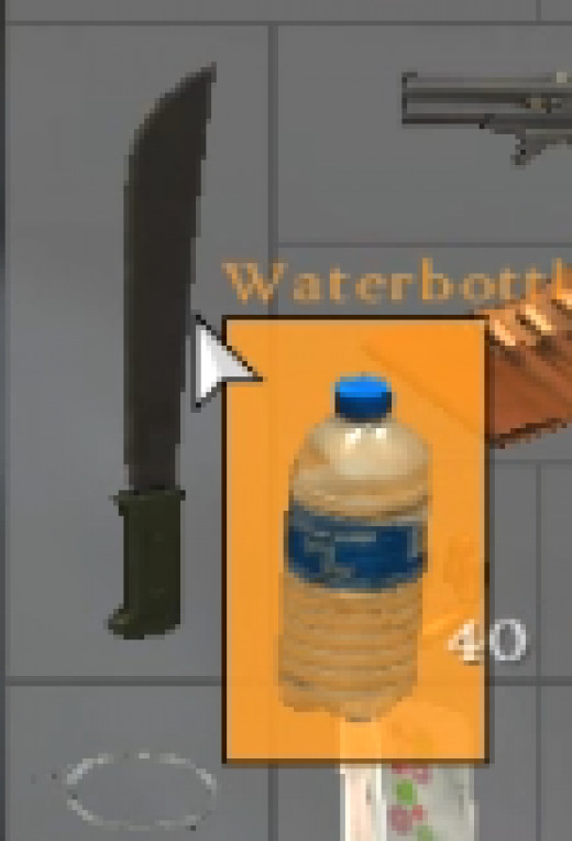 The waterbottle background will turn orange when dragged over an appropriate sharp tool.