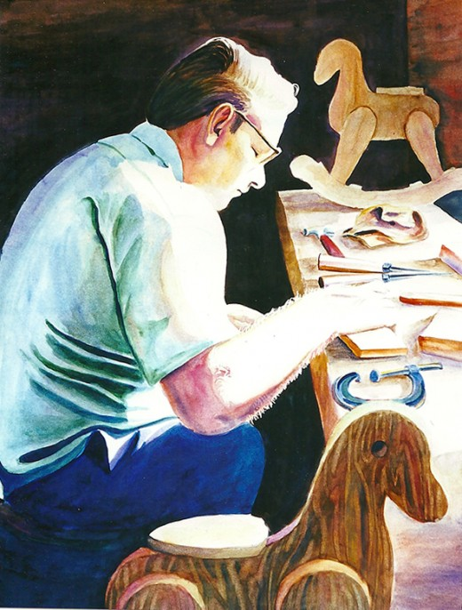 My watercolor painting of Dad making rocking horses for my little girls.