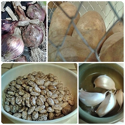 Onions, potatoes, pinto beans, and garlic: raw ingredients for Vegan Chili Beans.