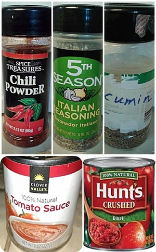 Chili powder, Italian Seasoning, and Cumin are used in Vegan Chili Beans, but we also need  tomato sauce and  crushed tomatoes.
