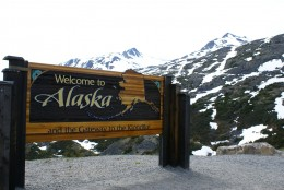 If you plan to travel to Alaska by car or crusie ship you will see this welcome to Alaska sign.  Photo by Richard Martin Alaska Cruise 2008