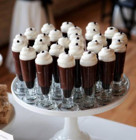 Pour the chocolate syrup+milk blend in shot glasses and add a scoop of vanilla ice cream to each glass. Serve with a chocolate nugget on top.