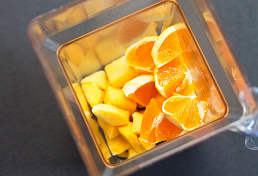 Blend the oranges and mangoes.