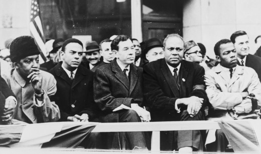 Five leaders of the SCLC, CORE and NAACP: Bayard Rustin, Andrew Young, William Fitz Ryan, James Farmer, and John Lewis